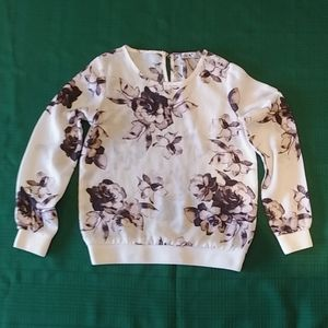 Dex Cream Coloured Girls Blouse with Flower Print